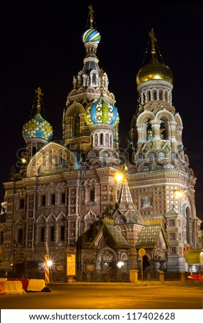 Famous Russian church in Saint-Petersburg