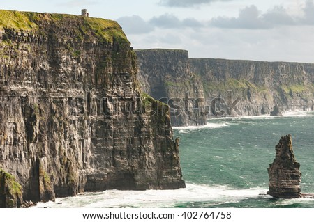 Famous Scenic Cliffs Of Moher, WildAtlanticWay, County Clare, Ireland. The Wild Atlantic Way Ireland. - stock photo
