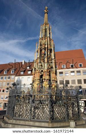 Famous Schoener Brunnen am Hauptmarkt in Nuremberg - stock photo
