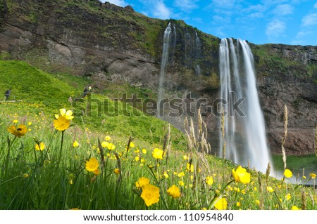 famous Seljalandsfoss waterfall of Iceland - stock photo