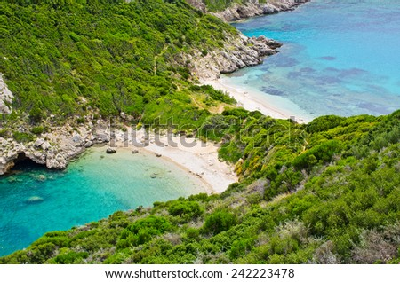 Famous 2 side Porto Timoni beach near Agios Georgios - Corfu, Greece - stock photo