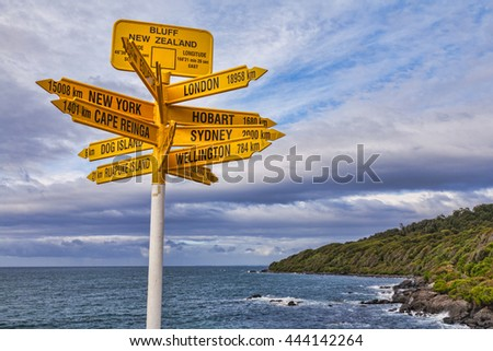 Famous sign at Bluff in the South Island of New Zealand, showing distance to various cities.