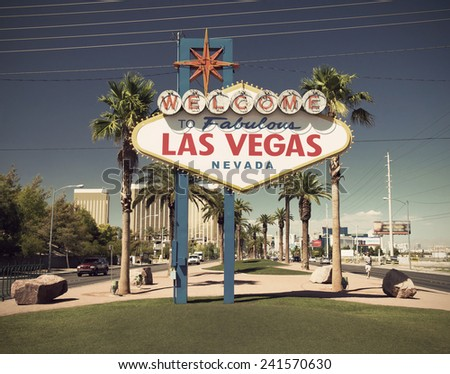 famous sign on Las Vegas Boulevard (Strip), Nevada, USA vintage style - stock photo