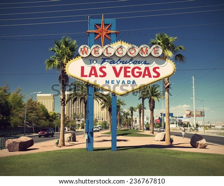 famous sign on Las Vegas Boulevard (Strip), vintage style, Nevada, USA  - stock photo