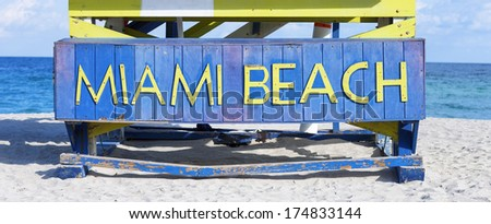 Famous sign on the beach in Miami, state Florida USA  - stock photo