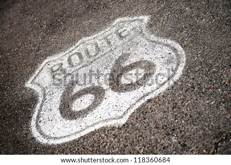 famous sixty six sign on the southwest road, USA, - stock photo