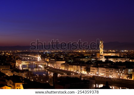 Famous skyline of Florence, capital of Tuscany, Italy. Long exposure, captured at dusk.