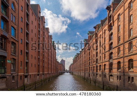 Famous Speicherstadt warehouse district in Hamburg, Germany.