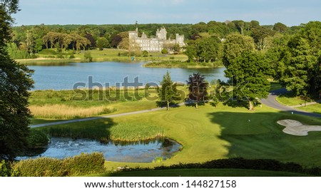 famous 5 star dromoland castle hotel and golf club in ireland - stock photo