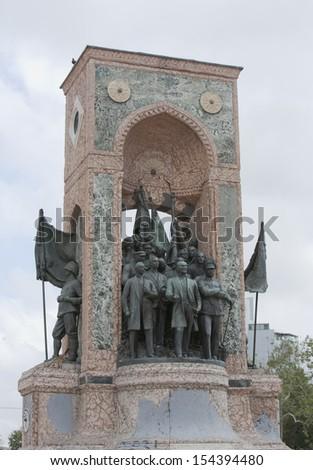 Famous Statue in Taxim Square, Istanbul honouring Turkish Heroes Mustafa Ataturk and Ismet Inonu - stock photo