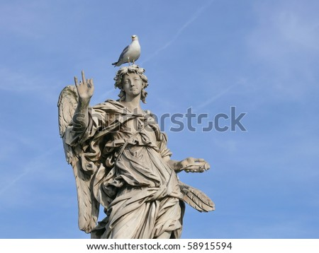Famous statue of an angel. Michaelangelo bridge. Rome. Italy. More of this motif & more Rome in my port - stock photo