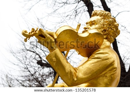 Famous statue of Johann Strauss at Stadtpark in Vienna, Austria. - stock photo