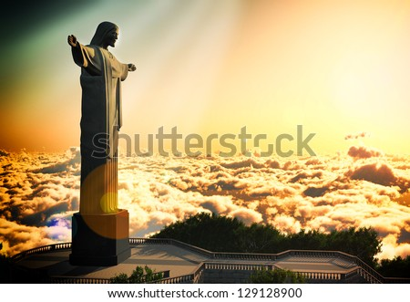 Famous statue of the Christ the Reedemer, in Rio de Janeiro, Brazil - stock photo