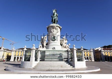 famous statue on commerce square in Lisbon - stock photo