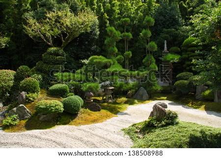 Famous stone gardens of Kyoto (Tofuku-ji) - stock photo