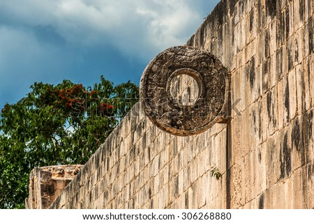 Famous Stone Ring located 9 m above the floor of the Great Ball Court. Chichen Itza archaeological site, Yucatan, Mexico. - stock photo