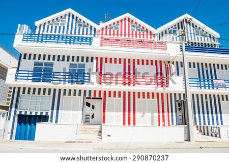 Famous stripy houses in Costa Nova, Portugal - May 16, 2015