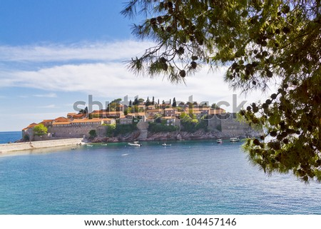 Famous Sveti Stefan (now Aman Sveti Stefan) including the Villa Milocer is a small islet and Luxury hotel resort in Montenegro, approximately 6 kilometers southeast of Budva, Europe