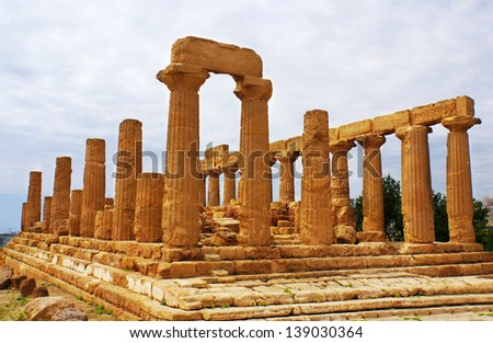 famous temple at agrigento - sicily - italy - valley of the temples