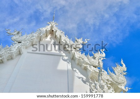 Famous Thailand temple or grand white church Call Wat Rong Khun,at Chiang Rai province, northern Thailand