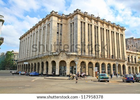 Famous  Theater and Cine Payret building in center old Havana, Cuba - stock photo