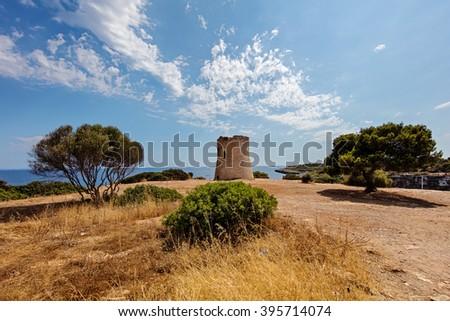 famous Torre de Cala Pi (Medieval Watchtower) -  Mallorca, Spain - stock photo