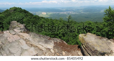 famous tourist attraction - the rocks of Sninsky kamen (Snina stone) in east of Slovakia. - stock photo