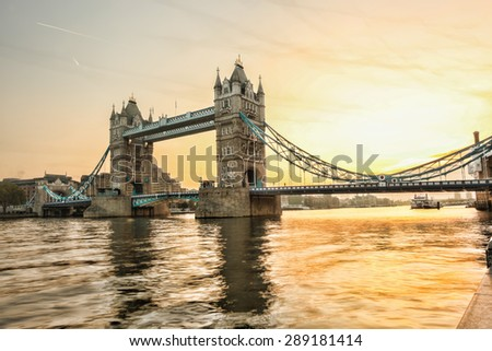 Famous Tower Bridge against sunset in London, England - stock photo