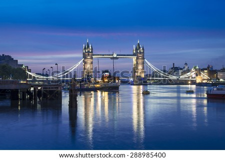 Famous Tower Bridge by night, London, England, United Kingdom  - stock photo