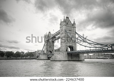 Famous Tower Bridge in black and white, London, England, United Kingdom - stock photo