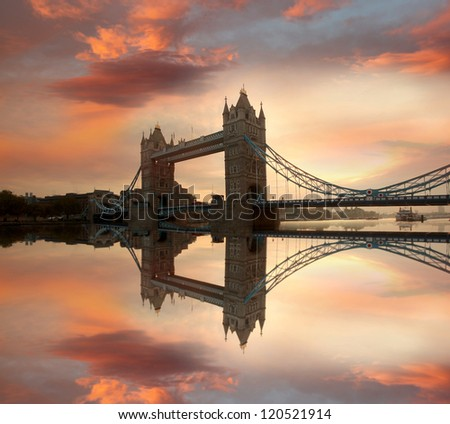 Famous Tower Bridge in the evening, London, England - stock photo