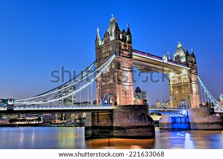 Famous Tower Bridge in the evening, London, England, United Kingdom - stock photo