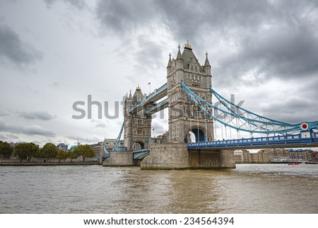 Famous Tower Bridge over the River Thames, London, England, United Kingdom   - stock photo
