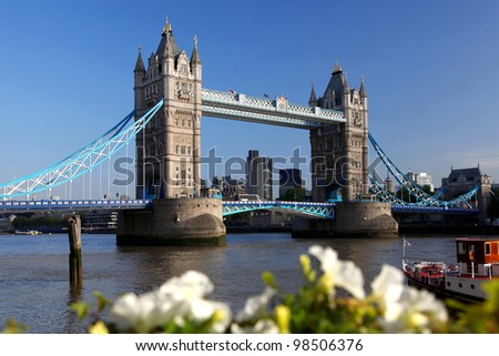 Famous tower bridge spring flowers london stock photo safe to use famous tower bridge with spring flowers in london uk mightylinksfo
