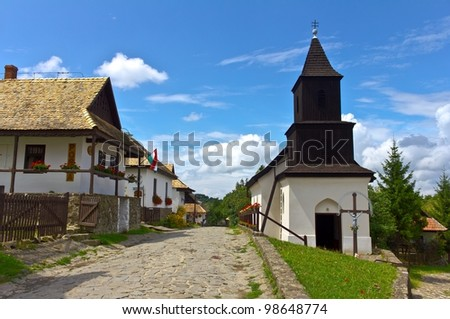 "Famous town, Holl�³k?, a Pal�³c ethnographic village in Hungary, its name means ""Raven-stone"" in Hungarian. UNESCO World Heritage Site. - stock photo"
