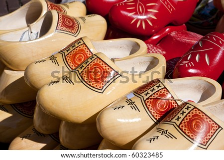 Famous traditional Dutch wooden clogs - stock photo