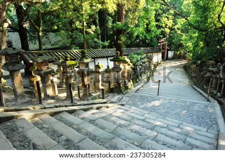 Famous traditional Japanese lanterns on the way to Grand Kasuga shrine, Nara - Japan - stock photo