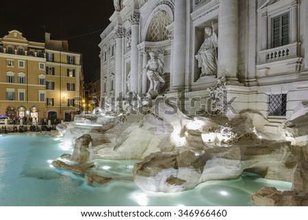 famous Trevi Fountain (Fontana di Trevi) at night, Rome, Italy, Europe  - stock photo