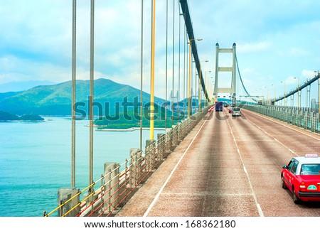Famous Tsing Ma bridge in Hong Kong  - stock photo
