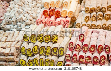 Famous turkish delights on the market - stock photo
