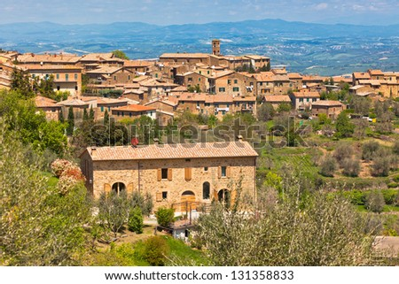 Famous Tuscan wine town of Montalcino view, Italy