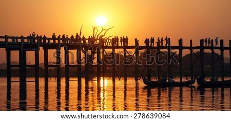 Famous U Bein Bridge near Mandalay Myanmar Burma - stock photo