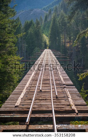 Famous unfinished railway bridge with forest and mountains in Washington  - stock photo