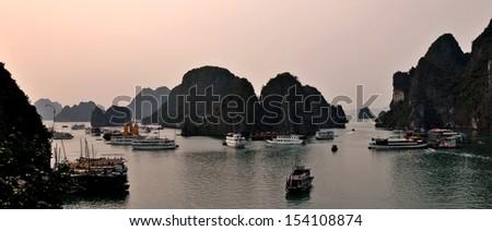 Famous Vietnam sight Halong bay - stock photo