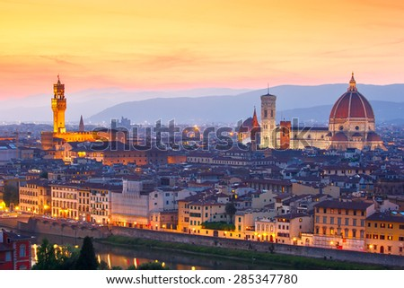 Famous view of Florence at sunset from Piazzale Michelangelo in Florence, Tuscany, Italy - stock photo