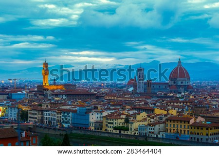 Famous view of Florence  at twilight from Piazzale Michelangelo in Florence, Tuscany, Italy - stock photo