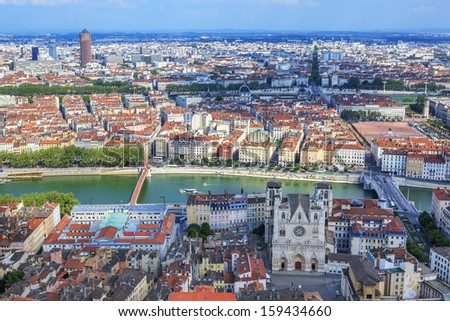 Famous view of Lyon from the Notre Dame de Fourviere Basilica - stock photo