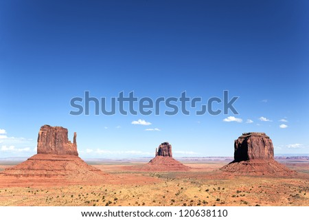 famous view of Monument Valley, Utah, USA. - stock photo