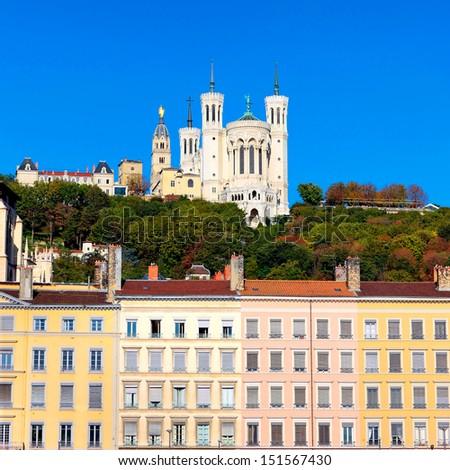 Famous view of Notre Dame de Fourviere, Lyon, France - stock photo