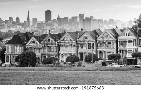 Famous view of San Francisco at Alamo Square CA, USA in black and white